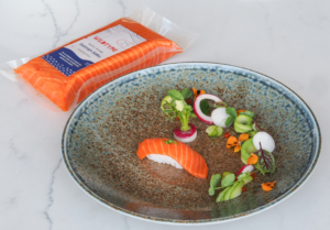 cultivated salmon meat on a dinner plate